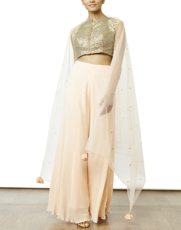 Hand Embroidered Crop Top & Palazzo Set