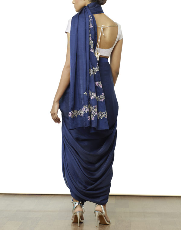 Embroidered Pre Draped Saree