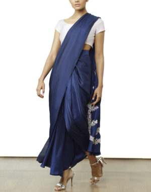 Embroidered Pre Draped Saree