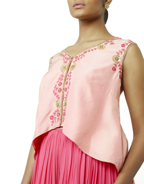 Embroidered Asymmetric Top & Lehenga