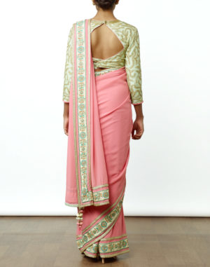 Embroidered Pink/Mint Saree & Choli