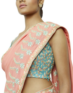 Embroidered Peach/Aqua Saree & Choli