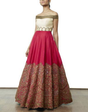 Hand Embroidered Crop Top & Lehenga