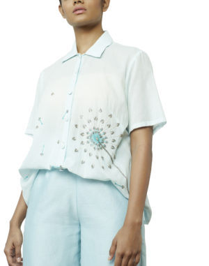 EMBROIDERED POWDER BLUE SHIRT