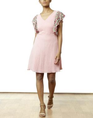 Embroidered Pink Skater Dress
