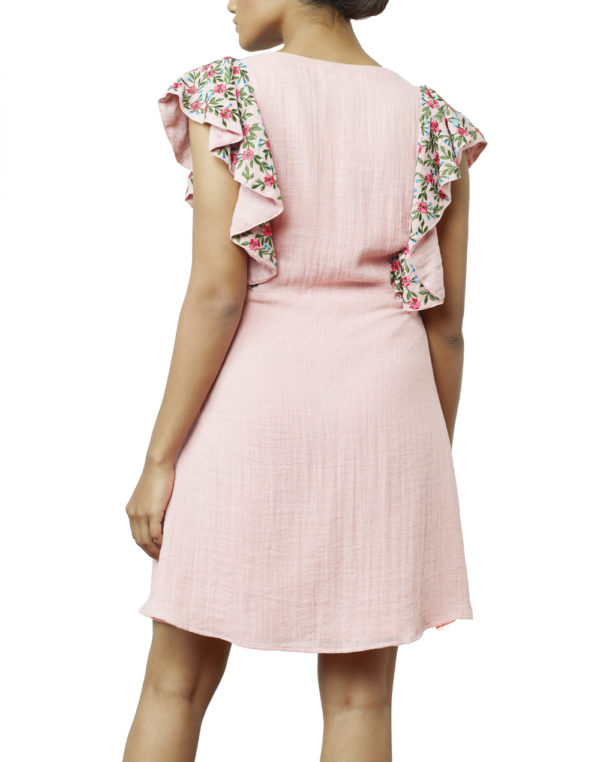 Embroidered Pink Skater Dress