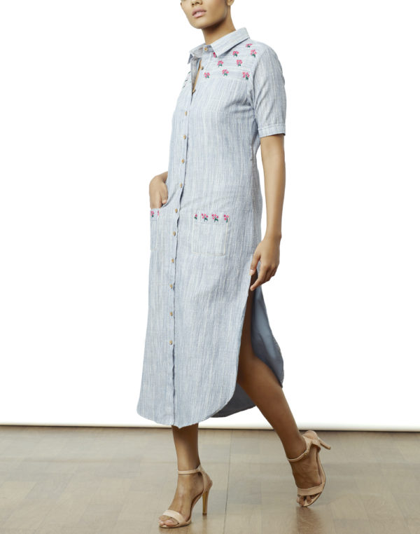 Embroidered Blue Shirt Dress