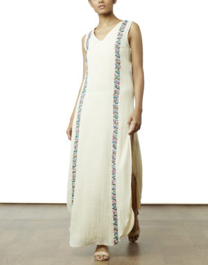 Embroidered Off White Maxi