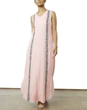 Embroidered Pink Maxi