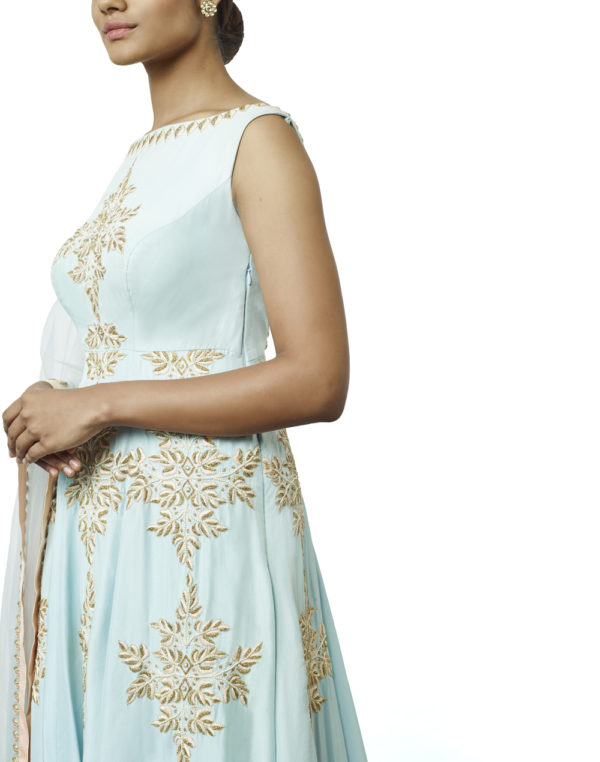 Embroidered Powder Blue Suit