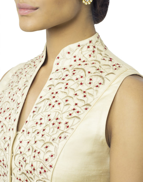 Embroidered Beige Jacket with Trousers