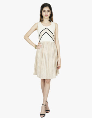 Ivory & Beige Abstract Patchwork Short Dress