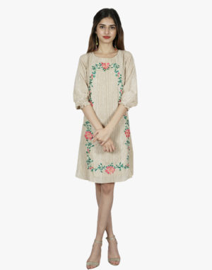 Allure Beige Stripes Floral Dress
