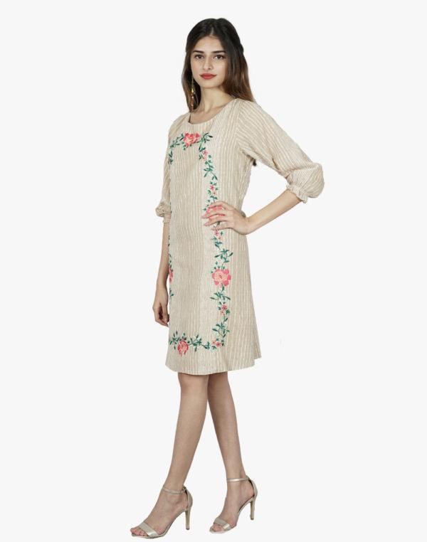 Allure Beige Stripes Floral Dress