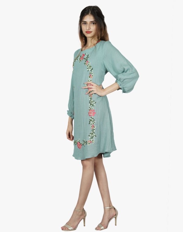 Allure Turquoise Green Floral Embroidered Dress