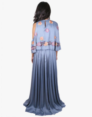 Grey Colourful Floral Embroidered Dress