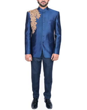 Blue Golden Cutdana Embroidered Bandhgala