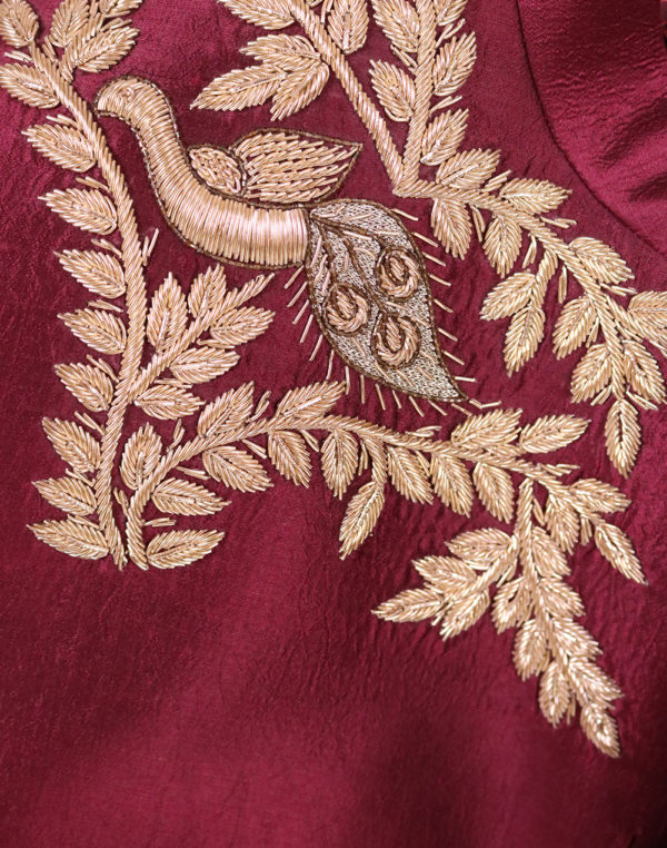 Maroon Golden Cutdana Embroidered Bandhgala