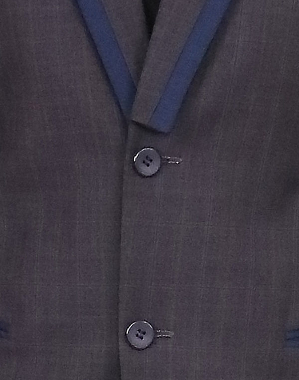 Grey Blazer With Blue Lapel
