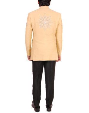 Beige White Thread Embroidered Bandhgala