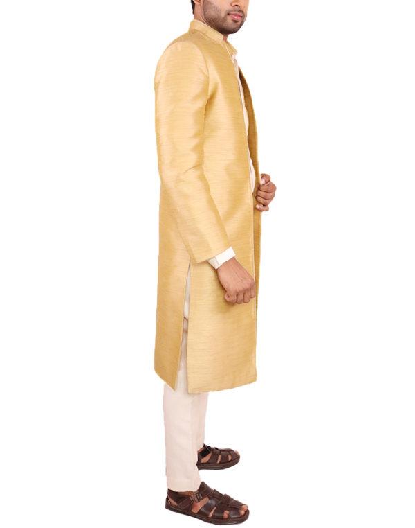 Golden Jute Open Jacket Sherwani