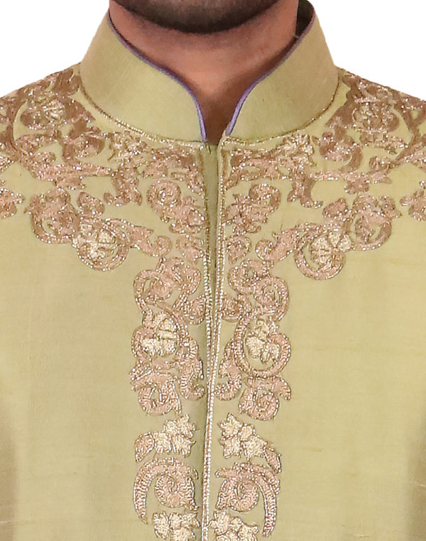 Green With Golden Embroidered Sherwani
