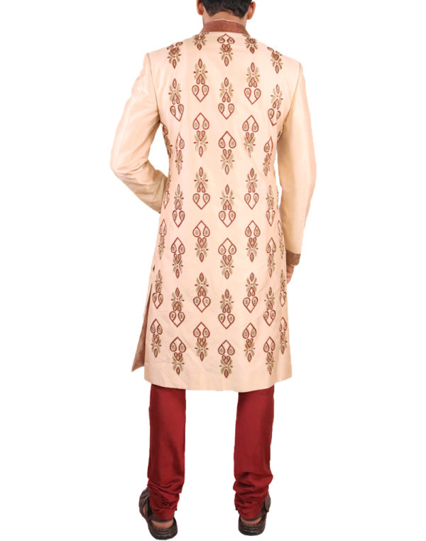 Rust with maroon Embroidered Sherwani