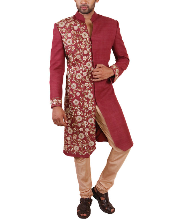 Rust with one-side embroidered Sherwani