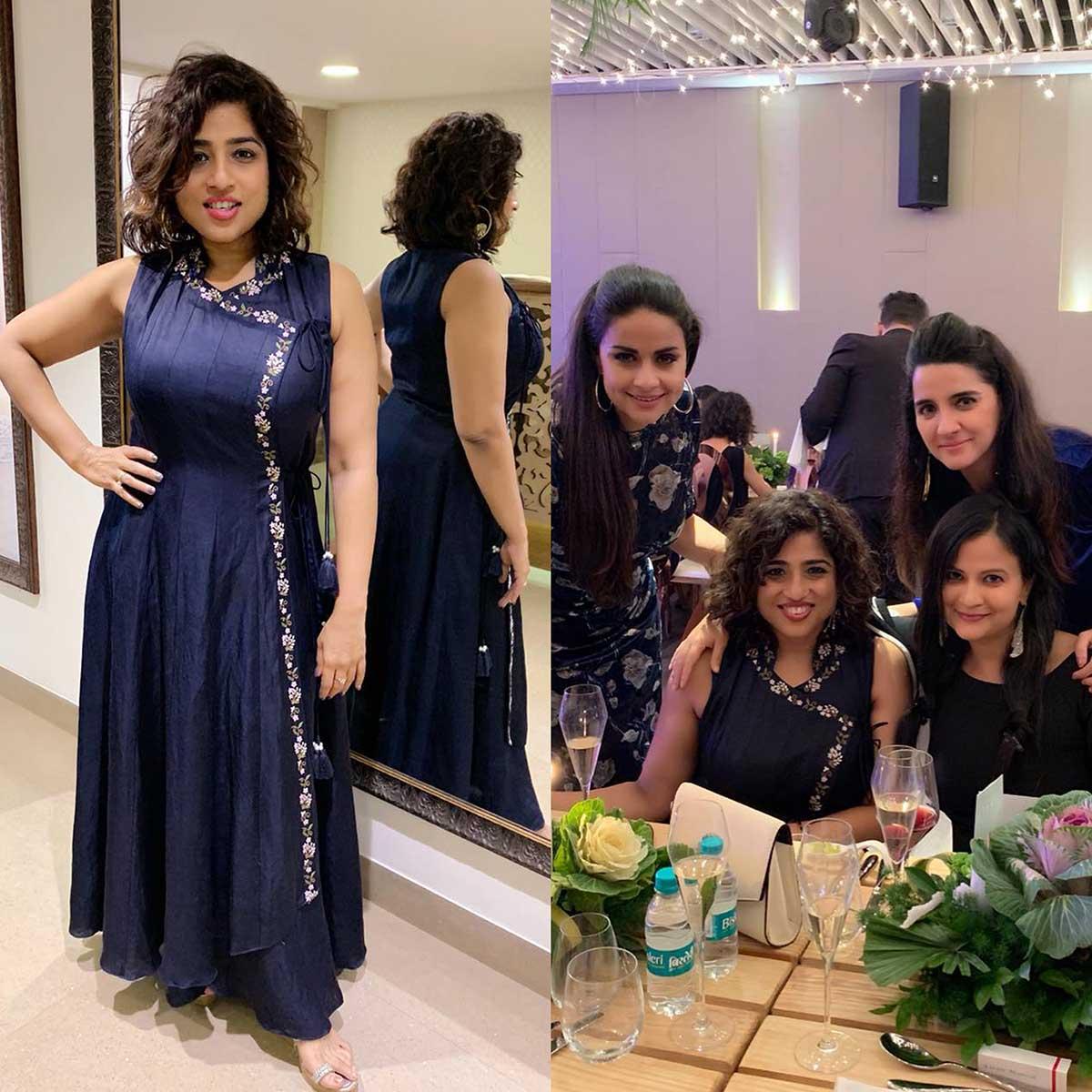 Malishka in our Blue Anghrakha Anarkali