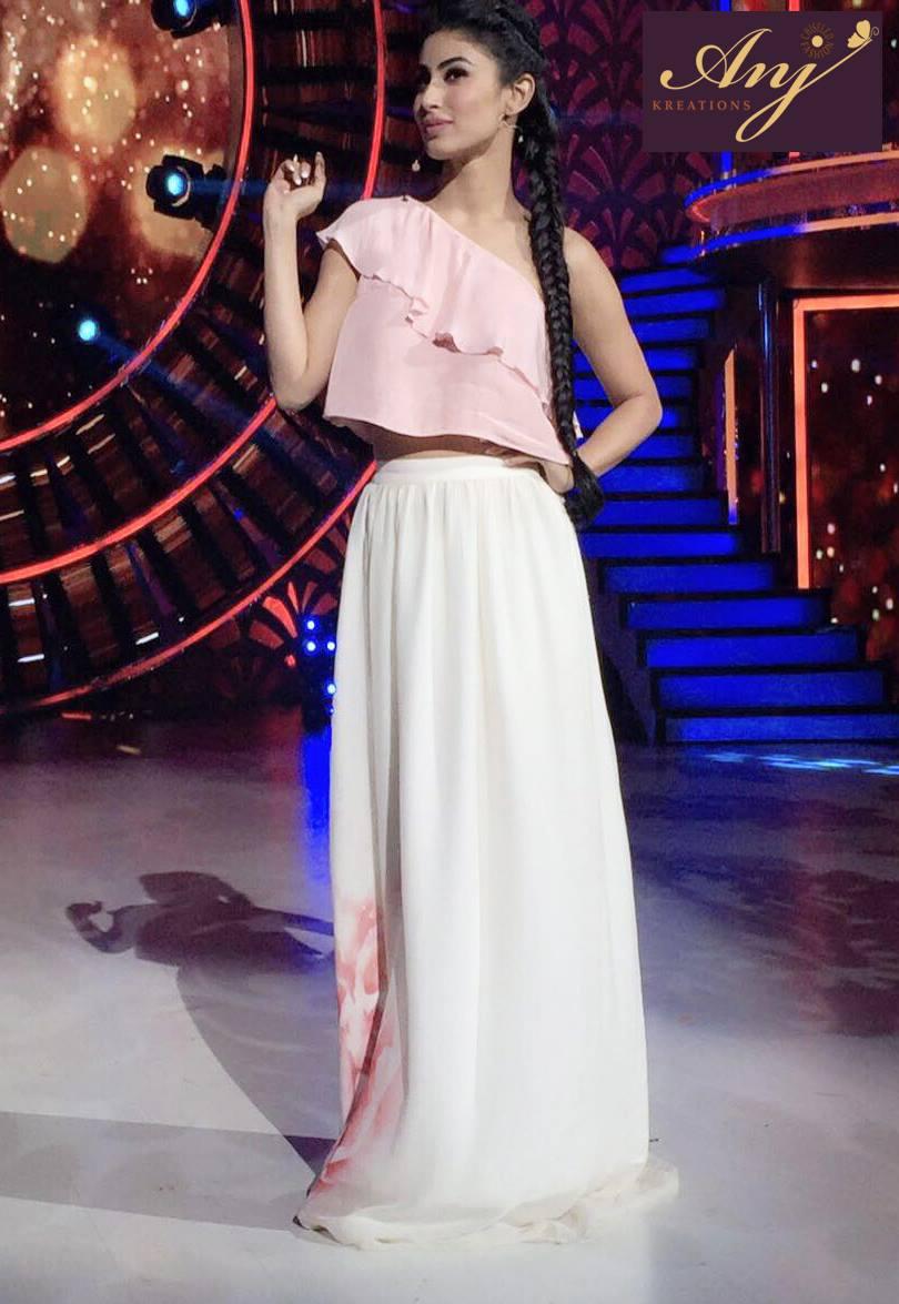 Mouni Roy in Blush Crop Top & Printed Skirt