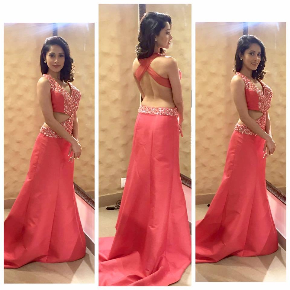 Nushrat Bharucha in Coral hand Embroidered Gown