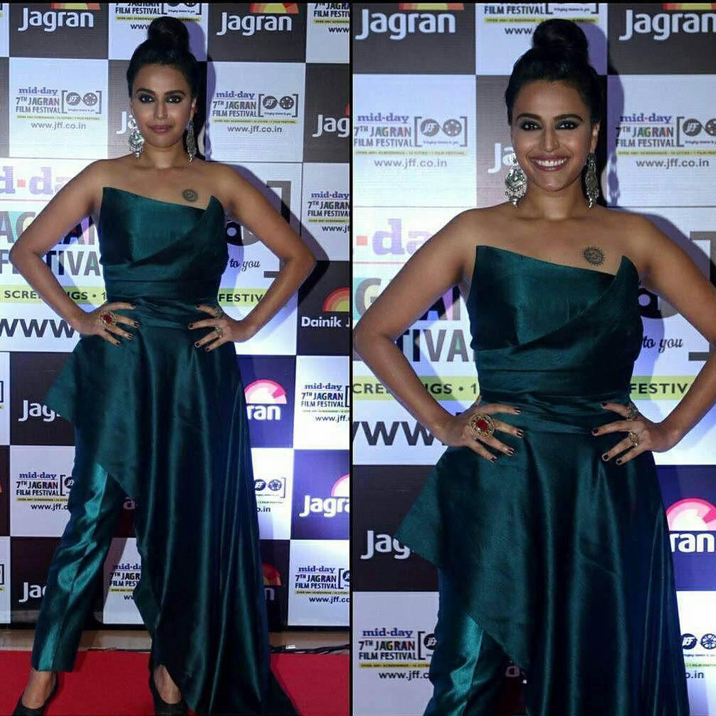 Swara Bhaskar in Turquoise Jumpsuit