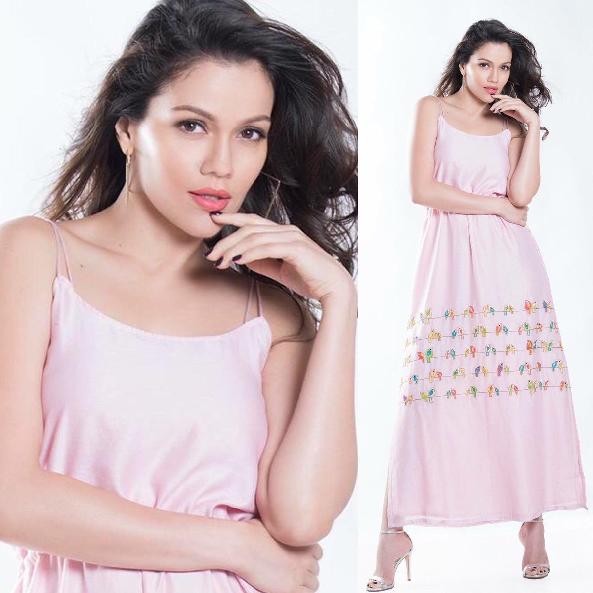 Waluscha DSouza styled in Pink Embroidered Maxi