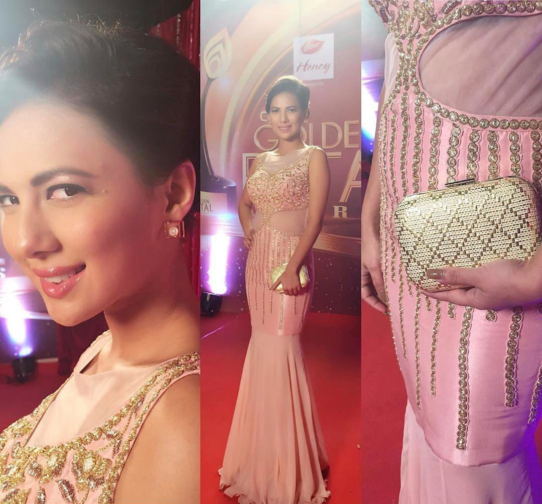 Rochelle Rao dressed in Peach Embroidered Gown