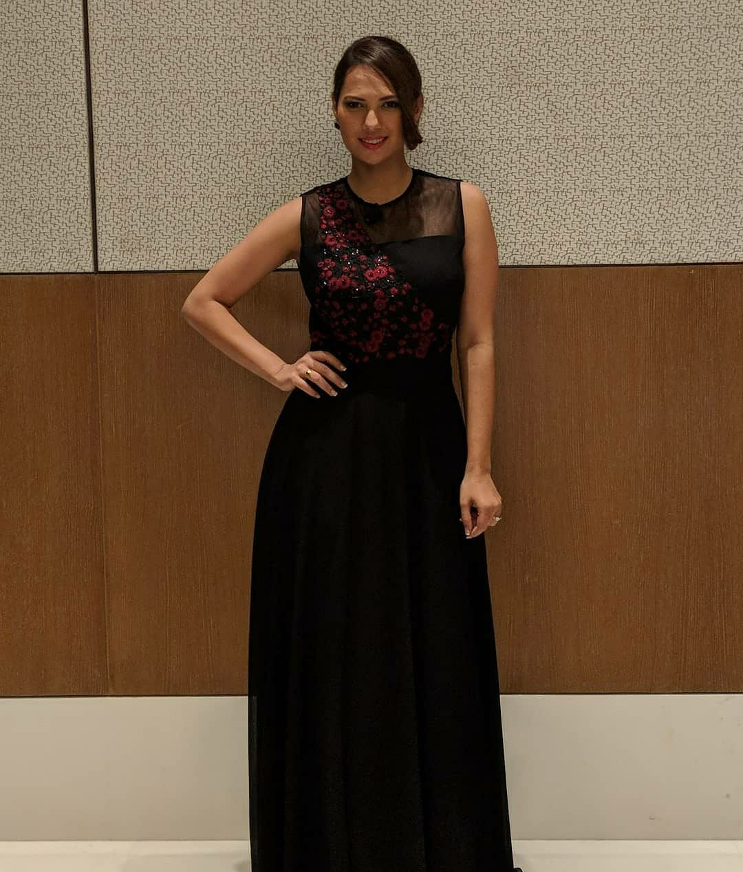 Rochelle Rao in Black Embroidered Gown