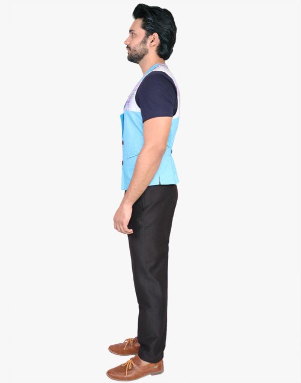 Alaya Blue Triad Print Waistcoat