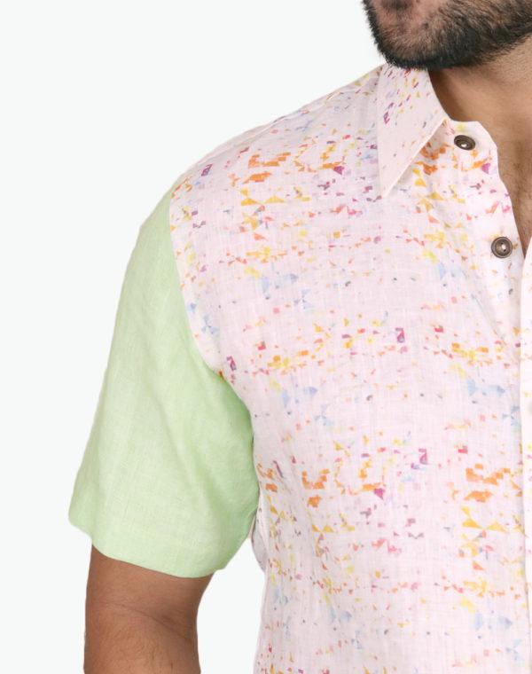 Alaya Green Pixel Print Shirt