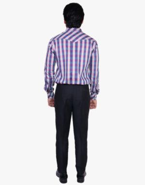Blue Pink Checkered Print Shirt