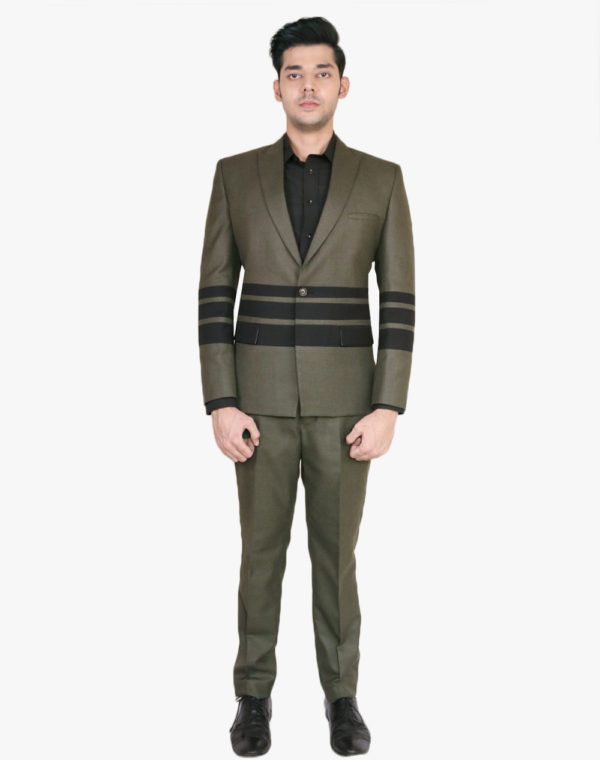 Olive With Black Horizontal Blazer