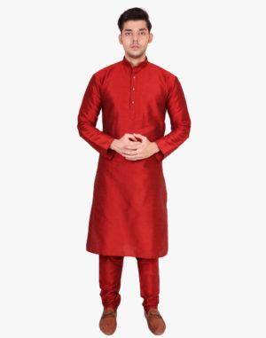 Red raw silk kurta