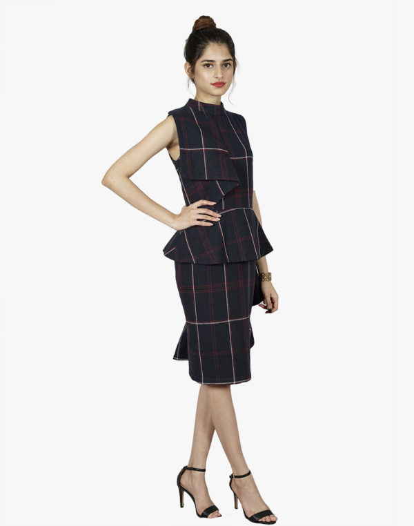 Uptown Tinge Checkered Flounce Dress