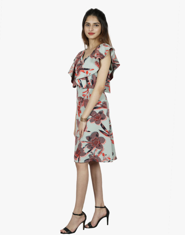 Uptown tinge printed flounce dress