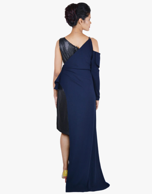 Blue Black Sequence One-Shoulder Gown
