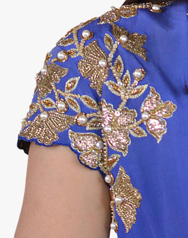 Royal Blue Embroidered Anarkali Coordinates