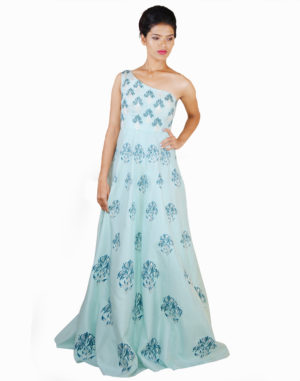 Light Blue One Shoulder Gown With Embroidery Over Print