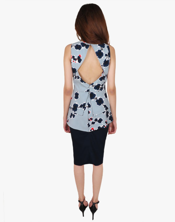 Blue Floral Print Peplum Formal Dress