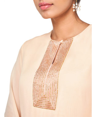Embroidered Coral Kurta