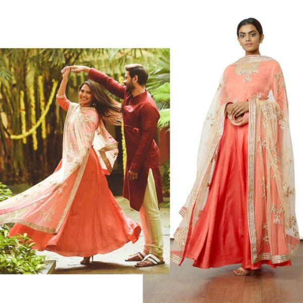 Rochelle Rao in Peach Anarkali Suit