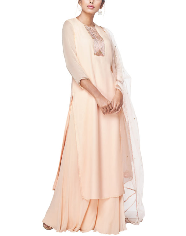Embroidered Kurta with Palazzo and a Dupatta