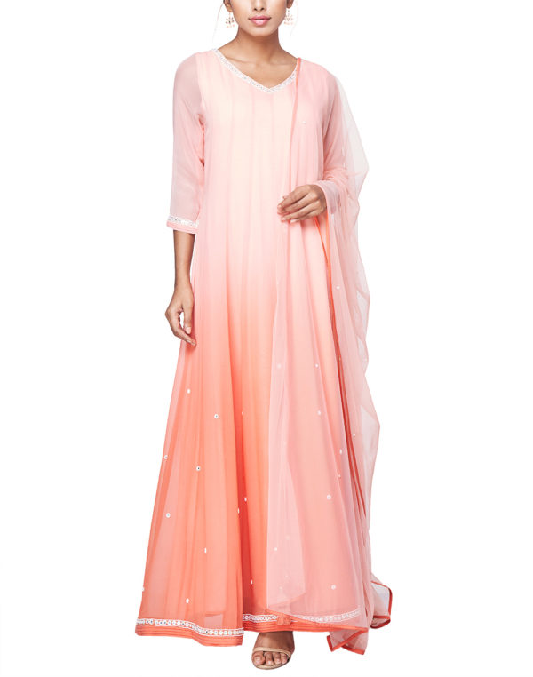 Embroidered Coral Ombre Anarkali Set